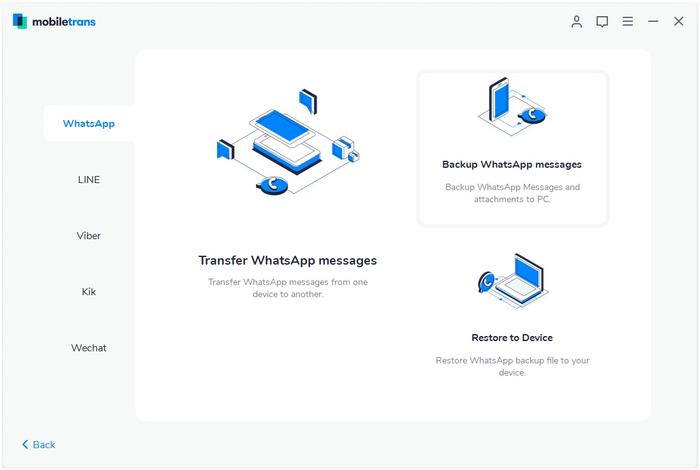 whatsapp backup using mobiletrans